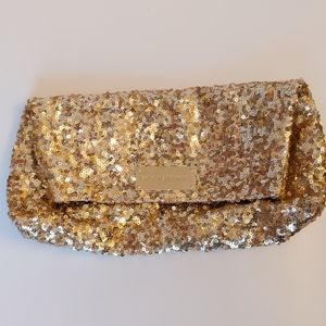 Victoria's Secret gold sequin clutch-10x6x2 inches